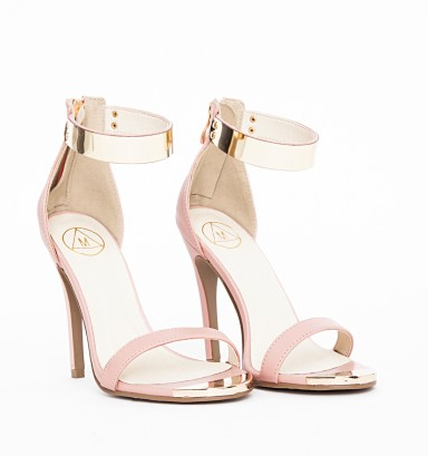 Kim Gold Plate Ankle Strap Heeled Sandals Nude - €41.99 www.missguided.eu