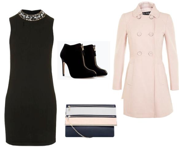Dress: Topshop €61, Coat: Miss Selfridge €75, Ankle Boots: Zara €49.95, Bag: New Look €19.99